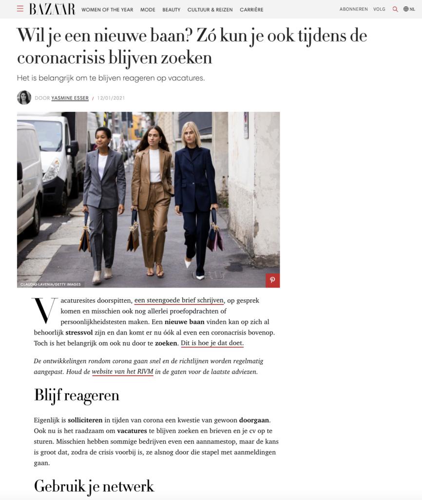 Harpers Bazaar: Wil je een nieuwe baan? Zó kun je ook tijdens de coronacrisis blijven zoeken