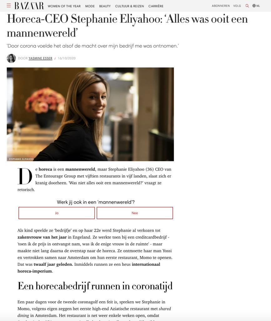 Harpers Bazaar: Horeca-CEO Stephanie Eliyahoo: 'Alles was ooit een mannenwereld'