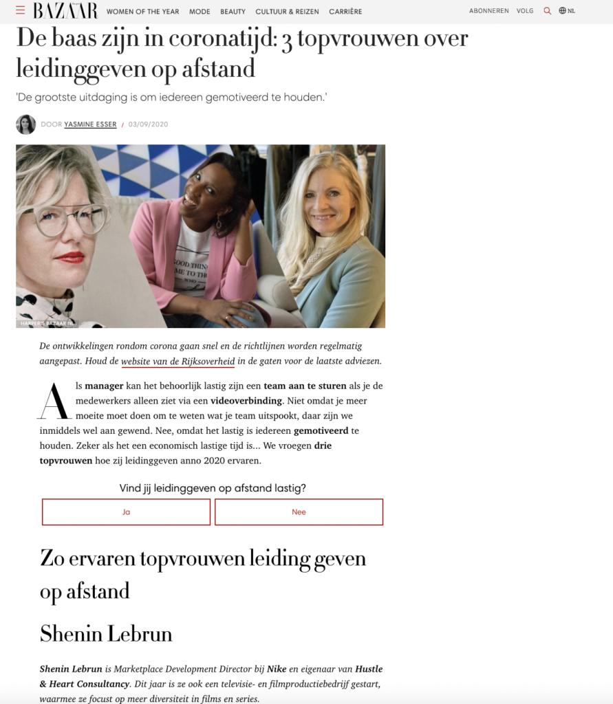 Harpers Bazaar: De baas zijn in coronatijd: 3 topvrouwen over leidinggeven op afstand