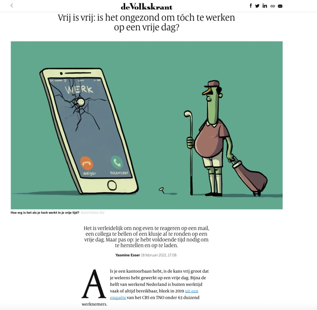 Volkskrant: Vrij is vrij: is het ongezond om tóch te werken op een vrije dag?