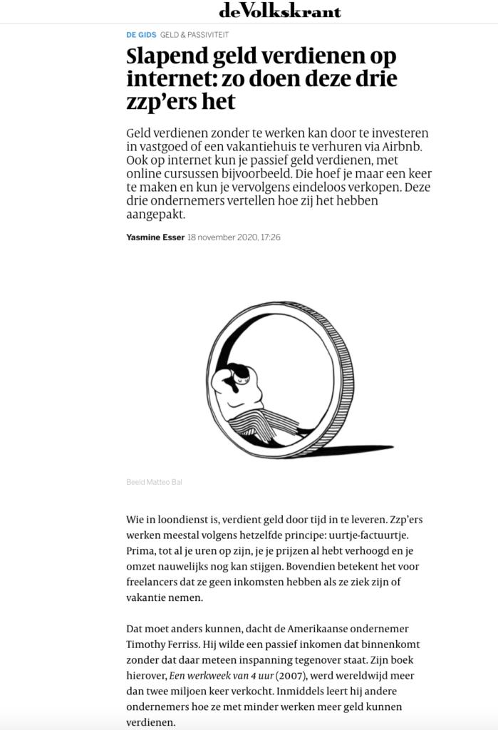 Volkskrant: Slapend geld verdienen op internet: zo doen deze drie zzp'ers het